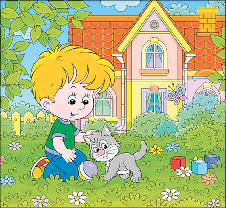 Little boy playing with a small gray kitten among flowers on green grass of a lawn in front of his house on a sunny summer day, vector cartoon illustration
