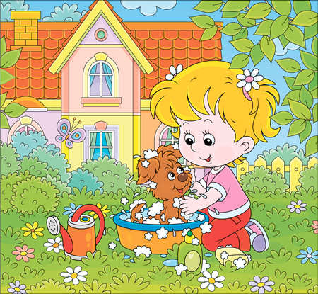 Cute little girl washing her small puppy in a basin with lather on a green lawn in front of a colorful house on a sunny summer day, cartoon illustration