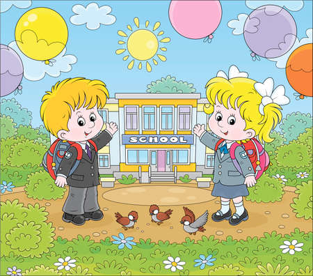 The first of September. Happy schoolchildren with schoolbags and colorful balloons standing in front of their school on a sunny day, vector cartoon illustration Illustration