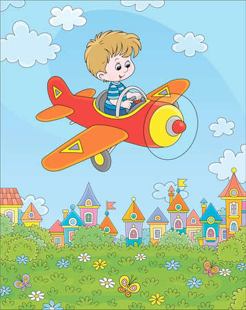 Little boy piloting his small toy plane among white clouds in blue summer sky over a green park near cute colorful houses of a small town on a sunny day, cartoon illustration Illustration