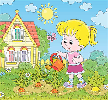 Smiling little girl watering carrots in her small kitchen garden in front of a house on a sunny summer day, illustration in a cartoon style Illustration