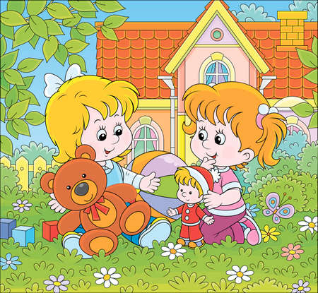 Small girls playing with toys among flowers on green grass of a front lawn of their house on a sunny summer day, vector cartoon illustration