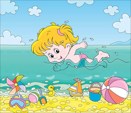 Little girl swimming in blue water on a sea beach on a sunny summer day, vector cartoon illustration Illustration