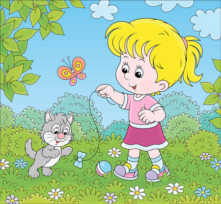 Smiling little girl playing with a small gray kitten among flowers on green grass of a lawn on a sunny summer day, vector cartoon illustration Illustration