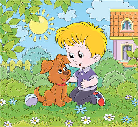 Little boy playing with a small brown pup among flowers on green grass of a lawn in front of his house on a sunny summer day, cartoon illustration