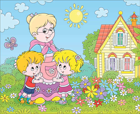Granny and her little grandchildren smiling and hugging among colorful flowers on a green lawn in front of a village house on a sunny summer day, vector cartoon illustration