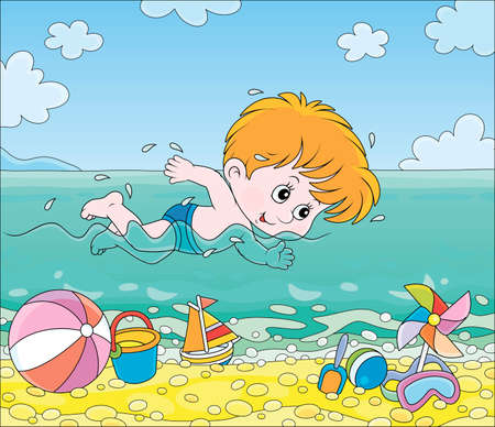 Little boy swimming in blue water on a sea beach on a sunny summer day, vector cartoon illustration 向量圖像