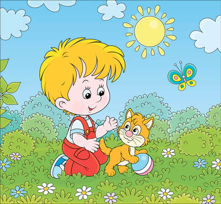Smiling little boy playing with a small kitten among flowers on green grass of a lawn on a sunny summer day, vector cartoon illustration