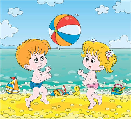 Happy little kids playing a colorful ball near water on a sea beach on a sunny summer day, cartoon illustration