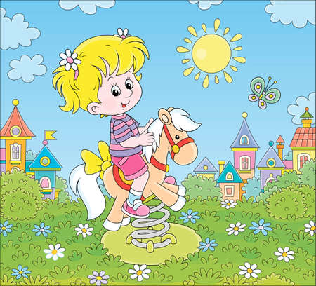 Smiling girl playing on a toy horse swing on a playground of a small town on a sunny summer day, cartoon illustration