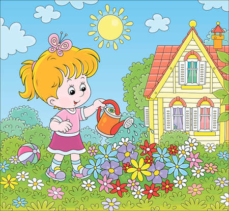 Smiling little girl watering colorful flowers on a flowerbed on a green lawn in front of her house on a sunny summer day, cartoon illustration Illustration