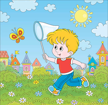 Little boy running and catching a flying butterfly with a butterfly net among flowers on green grass of a lawn on a sunny summer day, cartoon illustration Illustration