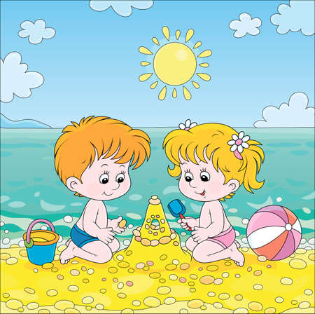 Happy little kids playing and making a fancy sand castle near water on a sea beach on a sunny summer day, cartoon illustration Illustration
