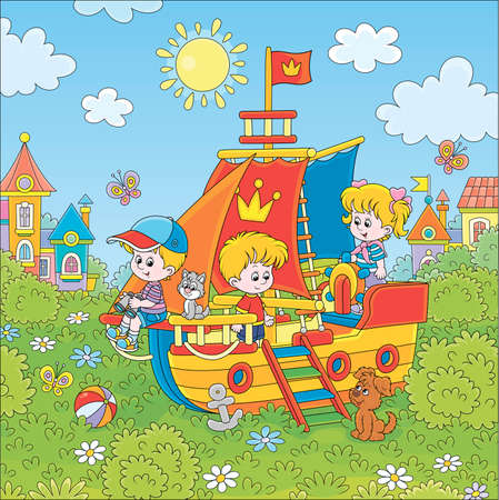 Little children playing on a colorful toy sailing ship on a playground in a green park of a small town on a sunny summer day, cartoon illustration