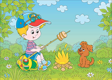 Little boy scout roasting bread on campfire on a green glade of a forest on a sunny summer day, cartoon illustration Illustration