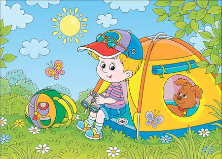 Smiling little boy scout and his funny small pup resting in a color camping tent on a green glade of a forest on a sunny summer day, cartoon illustration