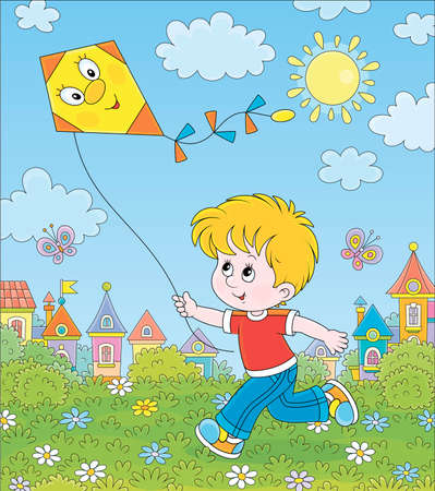 Smiling little boy running and playing with a funny toy kite against a background of colorful houses of a small town on a sunny summer day, cartoon illustration