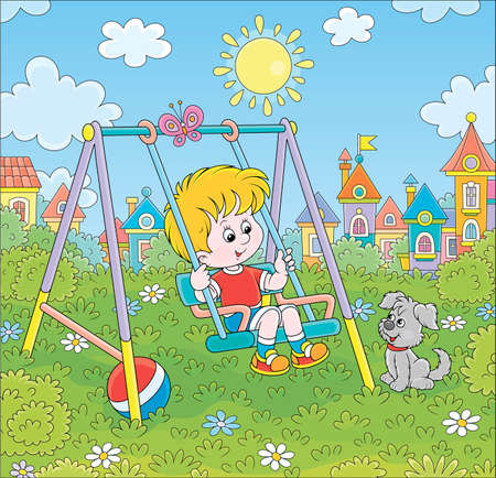 Smiling little boy on a toy swing on a playground in a park of a town on a sunny summer day, cartoon illustration
