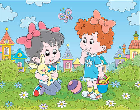 Cute little girls playing with a small toy rabbit among flowers on green grass of a lawn against a background of colorful houses of a small town, cartoon illustration Illustration