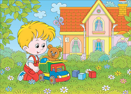 Little boy playing with a toy truck, a funny teddy bear and color cubes among flowers on green grass of a lawn on a summer day, cartoon illustration