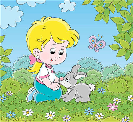 Smiling little girl playing with her small gray bunny among flowers on green grass on a summer day, cartoon illustration