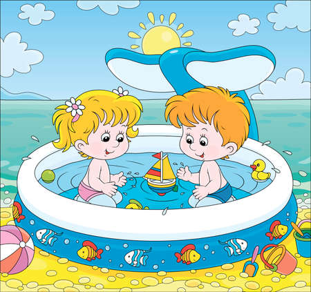 Happy little kids with toys playing in an inflatable paddling pool near water on a sea beach on a sunny summer day, cartoon illustration