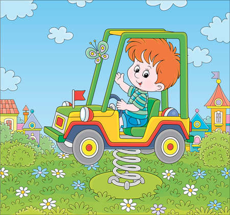Smiling boy on a toy car swing on a playground in a summer park of a town, cartoon illustration