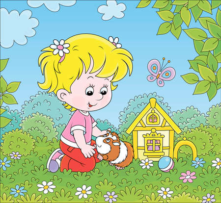 Smiling little girl playing with her small pet among flowers on green grass of a lawn on a sunny summer day, cartoon illustration