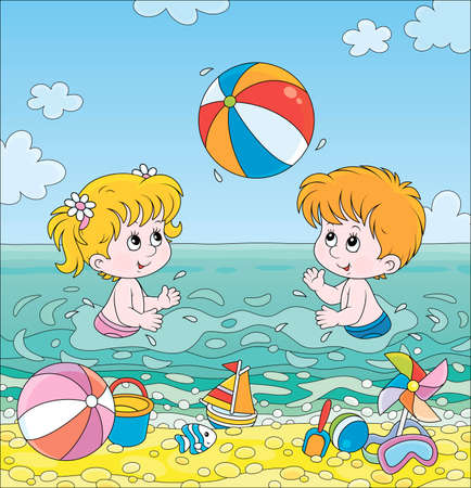 Happy little kids playing a colorful ball in blue water on a sea beach on a sunny summer day, cartoon illustration Illustration