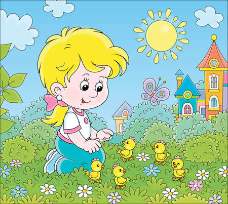 Little girl playing with small yellow chicks among flowers on green grass on a sunny summer day, cartoon illustration