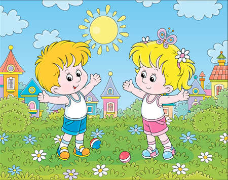 Smiling little children doing morning exercises in a green park of a town on a sunny summer day, cartoon illustration Illustration