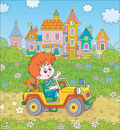 Little boy driving a toy off road car on a road out of town on a summer day, cartoon illustration Illustration