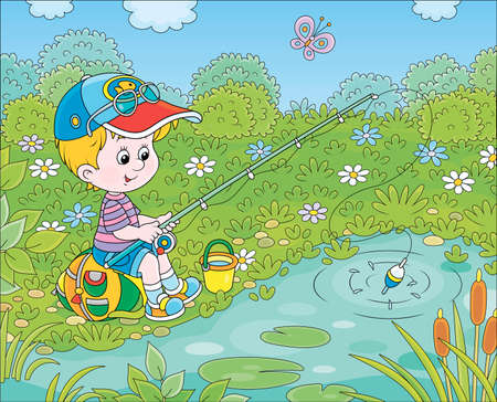 Little boy with a fishing-rod catching fish in a small pond on a summer day, cartoon illustration Illustration