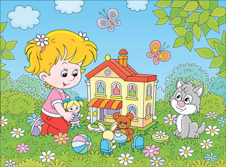 Cute little girl playing with a small doll, a bear, a rabbit and a toy house among flowers on a sunny summer day, cartoon illustration