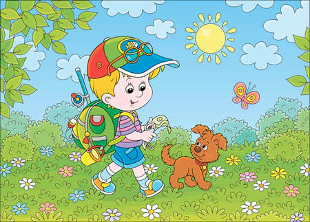 Little boy traveler with a backpack, a map, a compass and his small pup walking through a forest on a sunny summer day, cartoon illustration