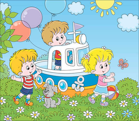 Little children and their puppy playing on a toy ship on a playground in a summer park, vector cartoon illustration