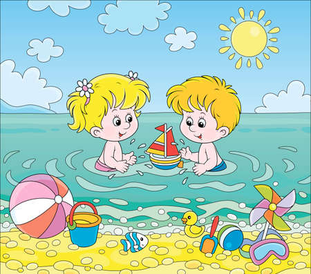 Happy little kids playing with toys in blue water on a sea beach on a sunny summer day, cartoon illustration Illustration