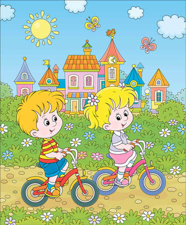 Little children riding bicycles near a cute small town with colorful houses among green trees on a sunny summer day, cartoon illustration