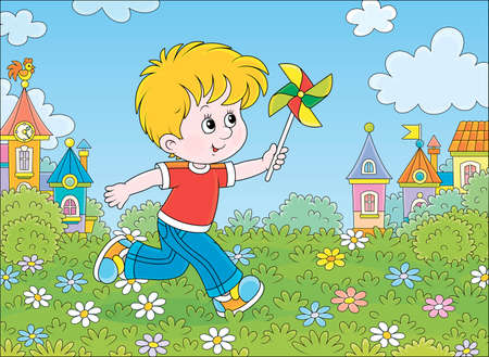 Little boy running and playing with his toy whirligig among flowers on green grass against a background of colorful houses of a small town on a sunny summer day, vector cartoon illustration Illustration