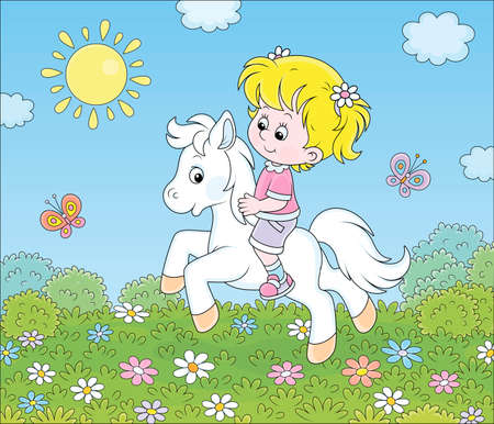 Little cute girl riding a white pony on a green field with flowers on a sunny day, vector cartoon illustration