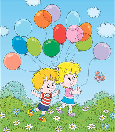 Children walking with colorful balloons in a park on a sunny summer day, cartoon illustration