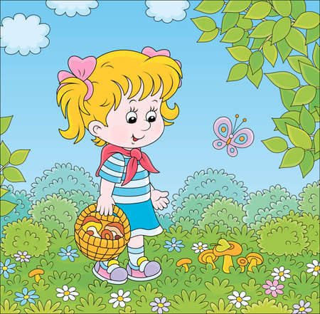 Girl walking with a basket and gathering mushrooms on a green forest glade on a summer day, cartoon illustration Illustration