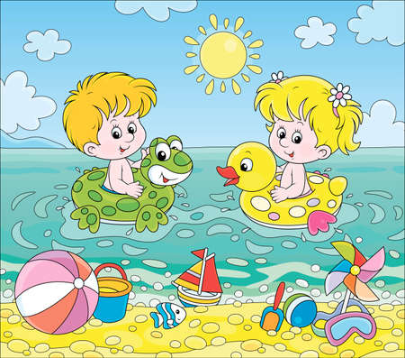 Happy little kids swimming in inflatable rings in blue water on a sea beach on a sunny summer day, cartoon illustration