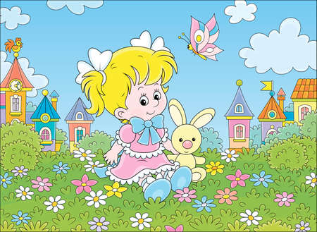 Cute little girl in a beautiful pink dress sitting with a small toy rabbit among flowers on a green lawn against a background of colorful houses of a small town, vector cartoon illustration