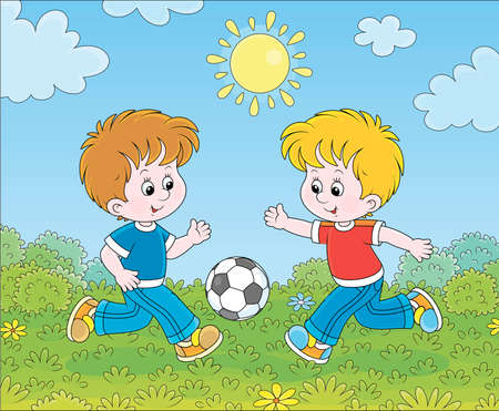 Little smiling boys playing football on green grass on a sunny summer day, cartoon illustration