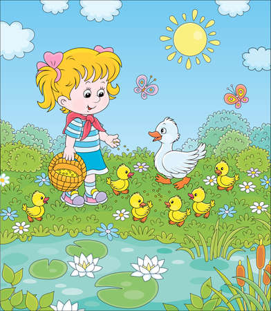 Little girl feeding a white duck and small yellow ducklings among flowers by a pond with water-lilies on a sunny summer day, cartoon illustration