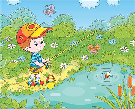 Little boy with a fishing-rod catching fish in a small pond on a summer day, cartoon illustration