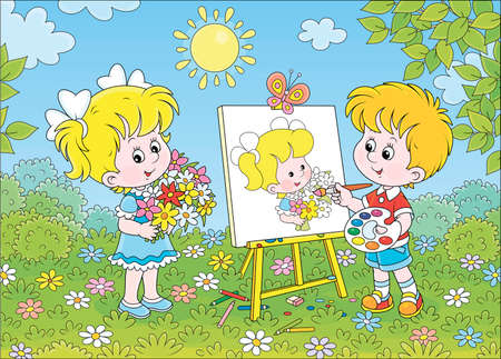 Little boy drawing a portrait of a cute smiling girl with a bouquet of colorful flowers in a green garden on a sunny summer day, cartoon illustration Illustration