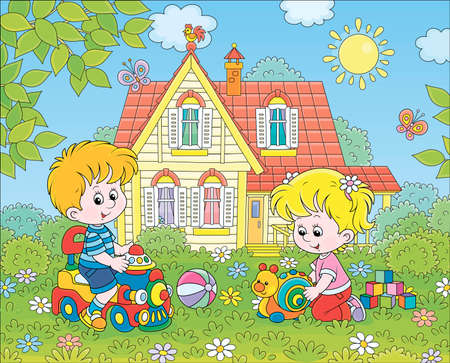 Small children playing with toys among flowers on green grass of a front lawn of their house on a sunny summer day, cartoon illustration