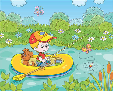 Little boy fisherman with a fishing-rod and a small pup in his inflatable boat catching fish in a pond on a sunny summer day, cartoon illustration